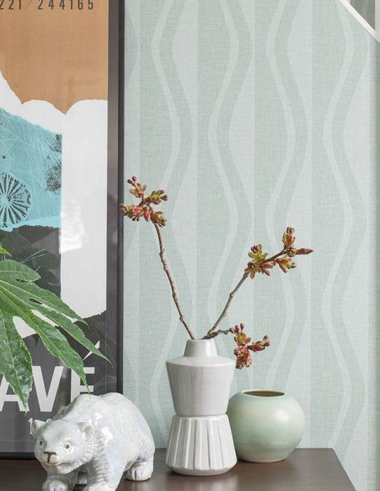 Wallpaper Eldor Matt Wavy pattern Mint turquoise