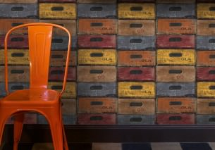 Wallpaper Hector Matt Shabby chic Wooden crates Anthracite Brown Yellow Grey Orange Red
