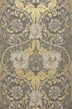 Papier peint Penelope Mat Damassé floral Anthracite Gris beige Ivoire Ivoire clair Beige nacré Or nacré