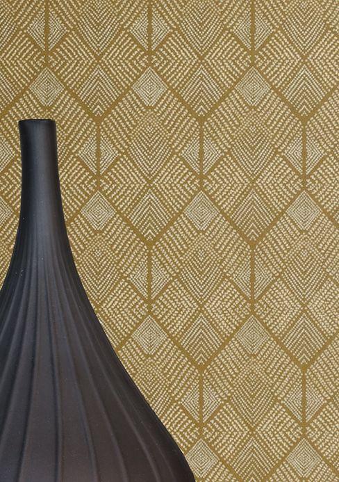 Papier peint géométrique Papier peint Brazilia kaki Vue pièce