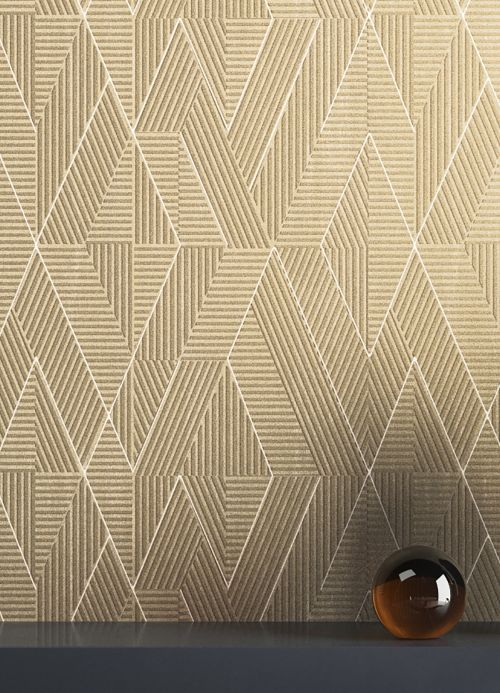 Geometric Wallpaper Wallpaper Robin light grey beige Room View