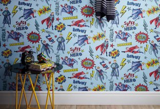 Wallpaper Herculan Matt People Words Light blue Blue Blue Green Yellow Red