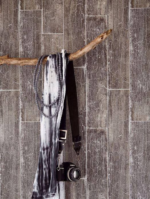 Papel pintado madera Papel pintado Atoras gris oscuro Ver habitación