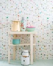 Wallpaper Teaspoons Matt Teaspoons White Yellow Green Light blue Rose