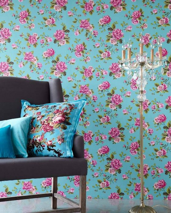 Wallpaper Isabelle Matt Roses Turquoise Heather violet Green