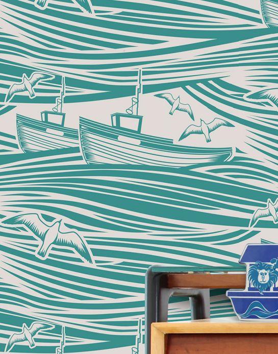 Design Wallpaper Wallpaper Ulysses turquoise green Room View