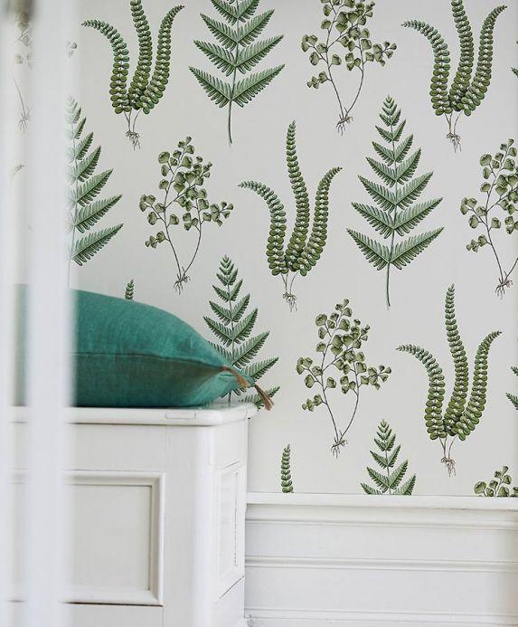 Papel de parede botânico Papel de parede Natali verde escuro Ver quarto