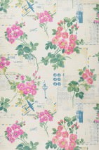 Wallpaper Kilde Matt Old letters Flowers Buttons Keys Light ivory Heather violet Yellow Green Green blue