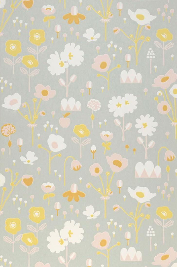 Papel pintado bloom gris blanco crema amarillo miel - Papel pintado a mano ...