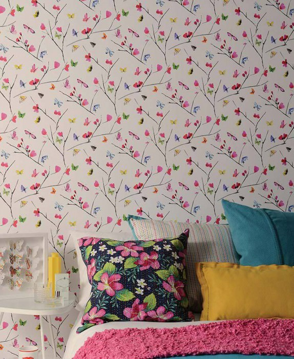 Wallpaper Darleen Matt Blossoms Butterflies Branches White Heather violet Yellow Green Red