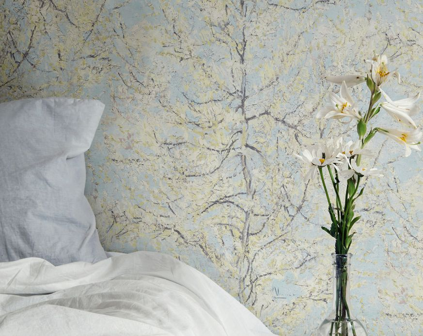 Faux Leather Wallpaper Wallpaper VanGogh Tree pastel turquoise Room View
