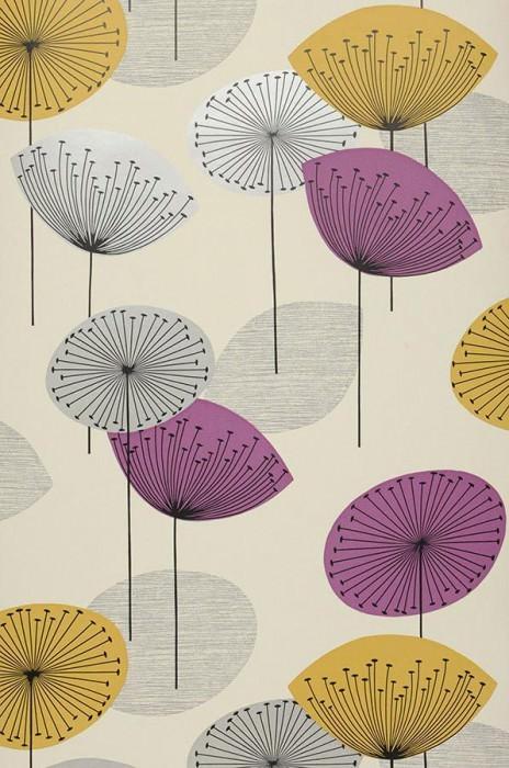 Papier peint Dana Mat Fleurs stylisées Blanc crème Jaune or Noir  Argenté lustre Violet