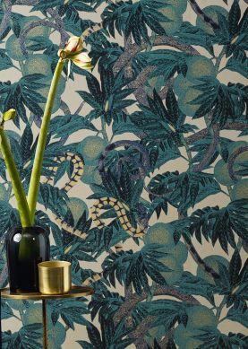 Papier peint Jungle Snakes bleu d'eau Raumansicht
