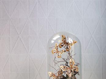 Papel pintado Origami gris beige claro