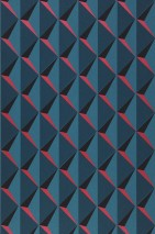 Wallpaper Jarid Matt Triangles Raspberry red Ocean blue Black Water blue
