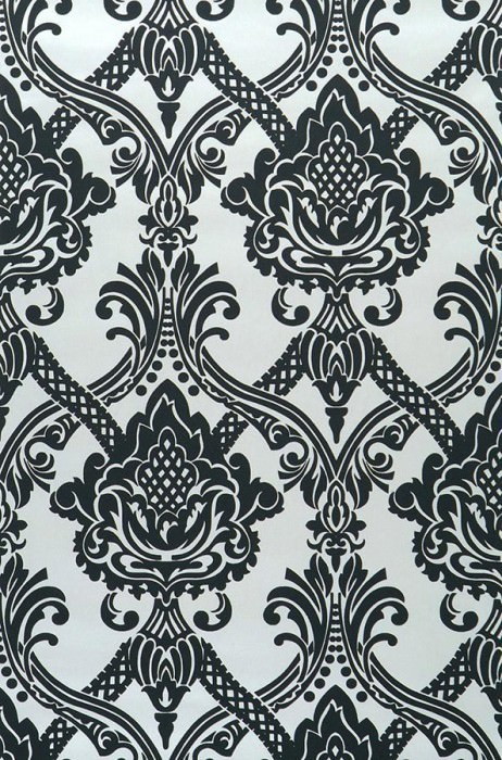 Wallpaper Anubis Matt pattern Shimmering base surface Baroque damask White shimmer Black