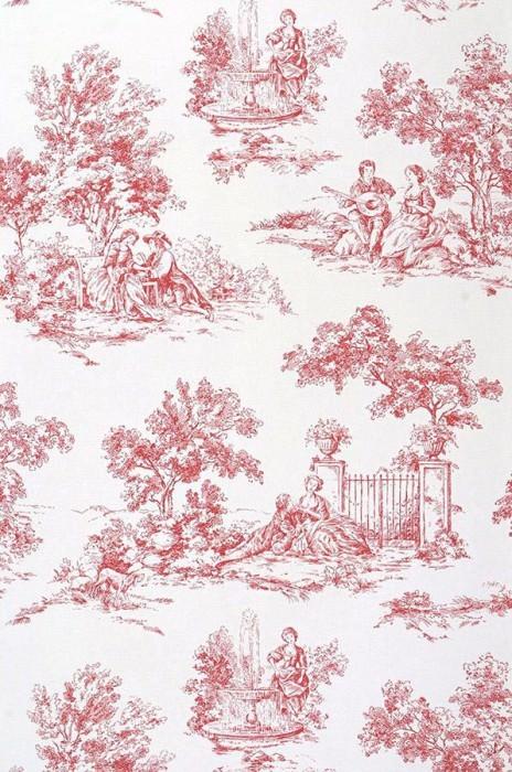 Wallpaper Toile de Jouy Fine linen look Toile de Jouy White Red