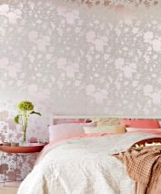 Wallpaper Wanda Shimmering pattern Matt base surface Flower tendrils Beige grey white Pale beige red metallic