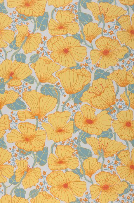 Papel pintado floral Papel pintado Ewa amarillento claro Bahnbreite