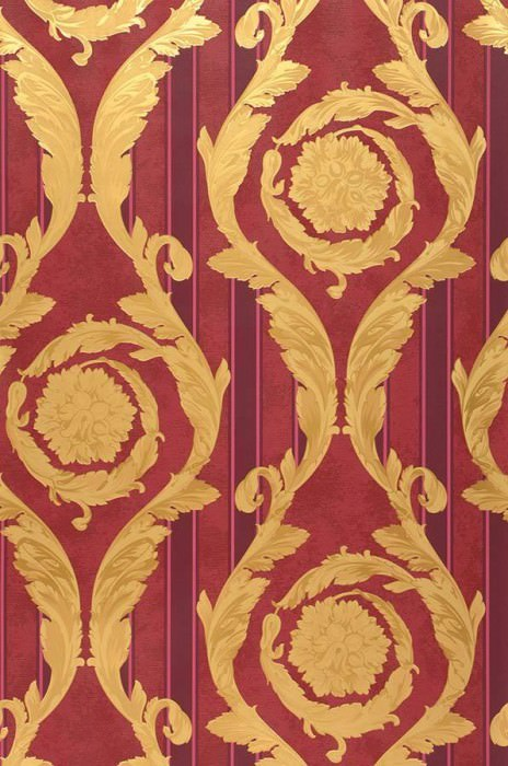 Wallpaper Fotini Shimmering pattern Matt base surface Floral damask Stripes Ruby red Pale red Gold Matt gold Wine red