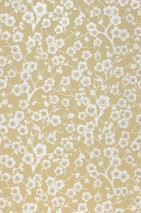 Wallpaper Laila Hand printed look Matt Flower tendrils Cherry blossoms Green beige Grey white Olive yellow