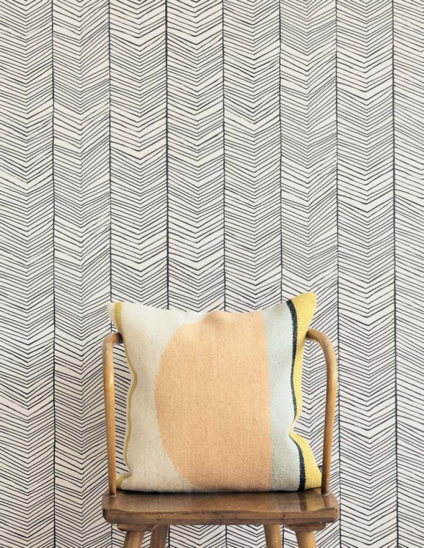 Tapete herringbone grauweiss schwarz tapeten der 70er for Tapeten papier