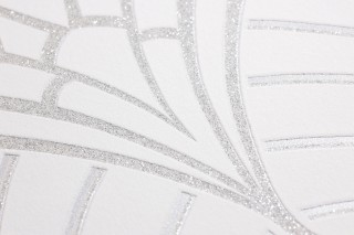 Wallpaper Windessa Shimmering pattern Matt base surface Art Deco Bends Cream Silver glitter Silver shimmer