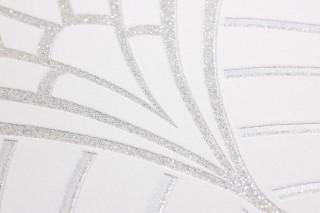 Wallpaper Windessa Shimmering pattern Matt base surface Art Deco Bends Cream Silver glitter Silver shimmer
