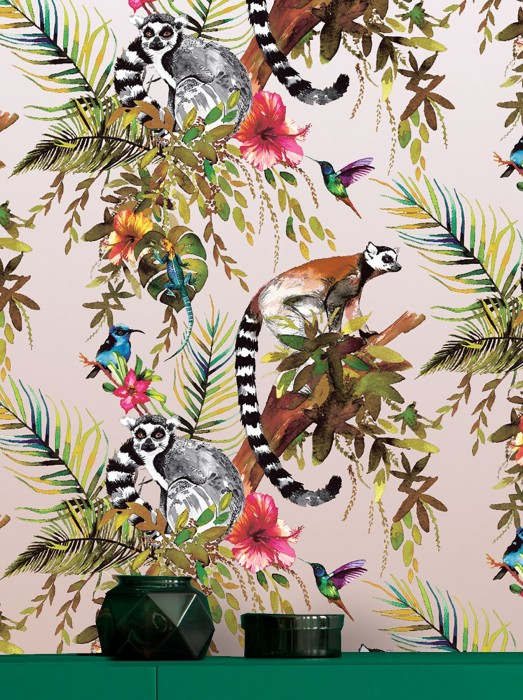 Wallpaper Madagascar Matt pattern Shimmering base surface Monkeys Leaves Blossoms Animals Birds Rosewood shimmer Blue Brown Yellow Shades of green