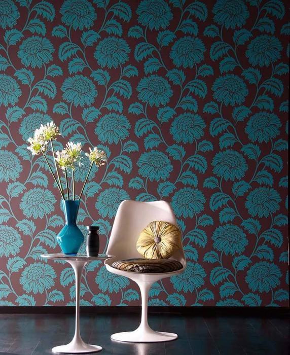 Papel pintado Zarya Mate Flores zarcillos Marrón grisáceo oscuro Azul turquesa