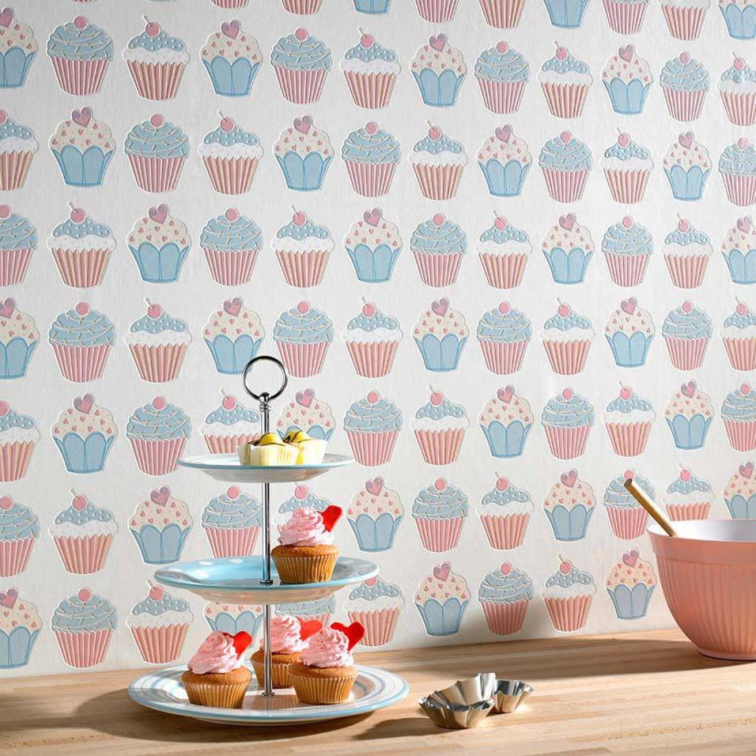 Carta da parati cupcake bianco crema blu chiaro rosa for Carta da parati anni 70