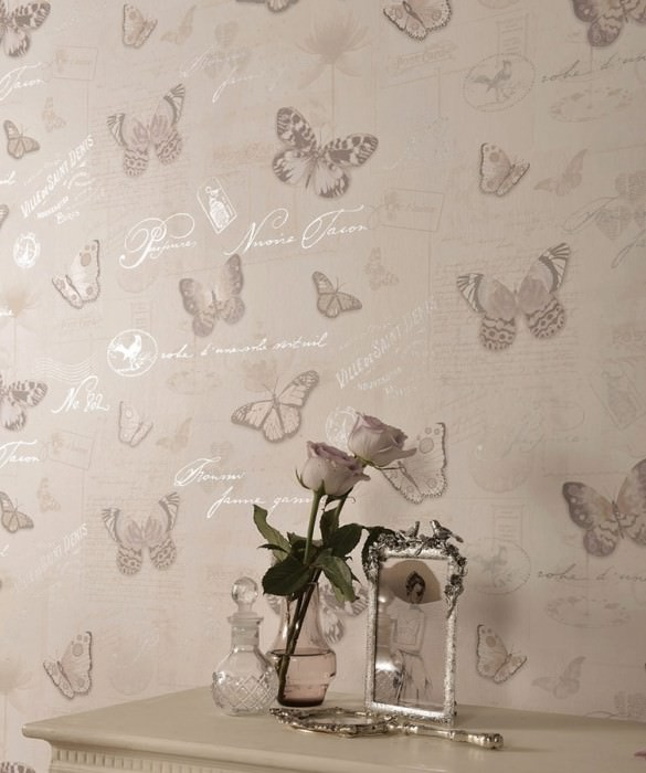 Wallpaper Bodola Matt Blossoms Porcelain Butterflies Words Cream Pale brown Pale orange Pale violet Grey Silver shimmer
