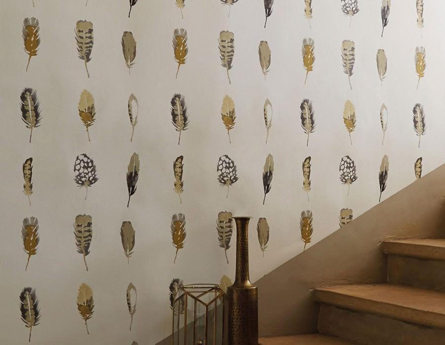 Wallpaper Ferty Matt Feathers Cream Beige Curry yellow Yellow grey Grey