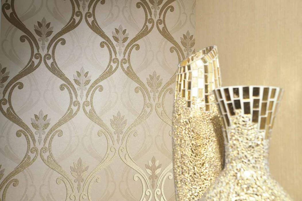 Papel pintado Harmonia Patrón reluciente Superficie base brillante Damasco barroco Marfil claro brillante Oro lustre Beige grisáceo Beige grisáceo claro