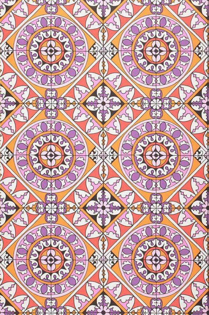 Papel pintado borromeo naranja rosa rojo violeta for Papel pintado oriental