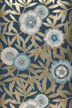 Wallpaper Sefina Matt Leaves Stylised blossoms Grey blue Beige shimmer Beige grey Blue Green Shades of blue Grey white Sand yellow shimmer