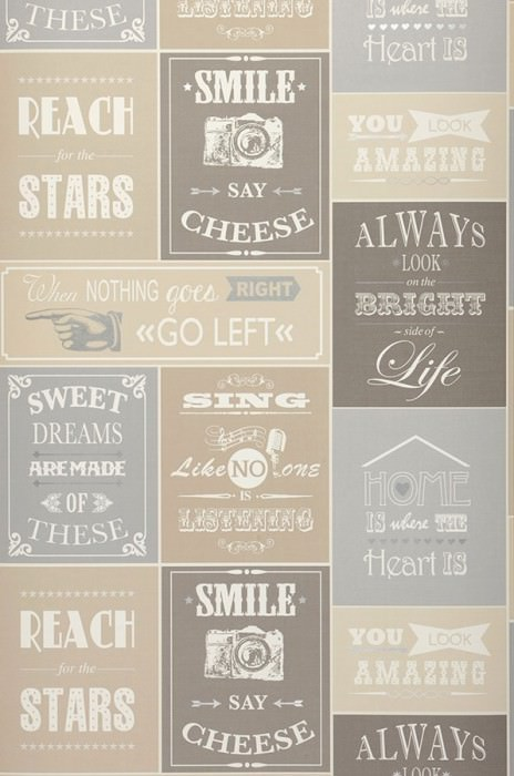 Wallpaper Velar Matt Words Cream Grey beige Light brown beige Light grey