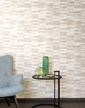 Papier peint Lasse Mat Rayures Gris beige Blanc crème Beige gris Ivoire clair brillant