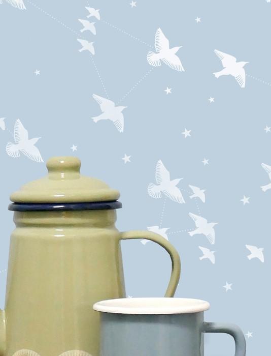 Wallpaper Hermine Matt Stars Birds Light blue White
