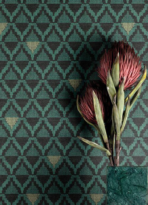 Geometric Wallpaper Wallpaper Kurumba patina green Room View