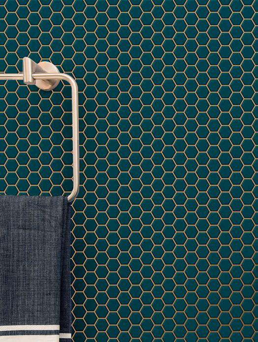 Papel de parede geométrico Papel de parede Bogo azul água Ver ambiente