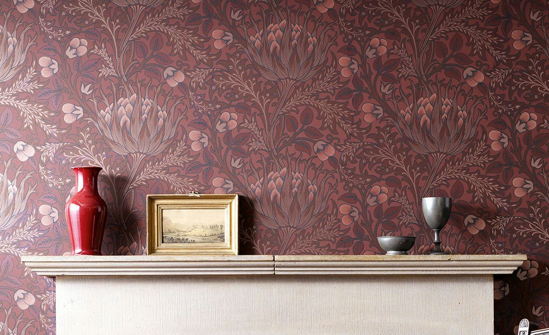 Floral Wallpaper Wallpaper Andastra brown red Room View