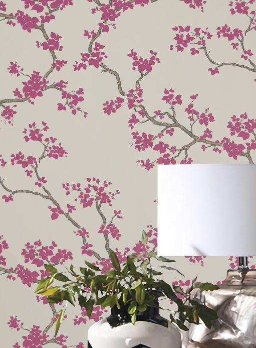 Floral Wallpaper Wallpaper Sakura claret violet Room View