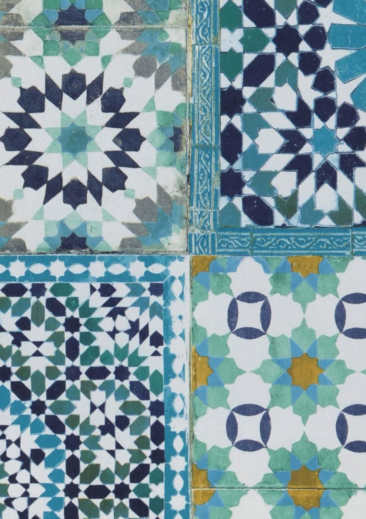 Papel pintado azulejos verde naranja azul acero azul for Papel pintado azul turquesa