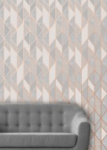 Wallpaper Lasmo Matt pattern Shimmering base surface Graphic elements Rosewood shimmer Grey tones
