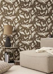 Papel de parede Birds of Happiness marrom azeitona