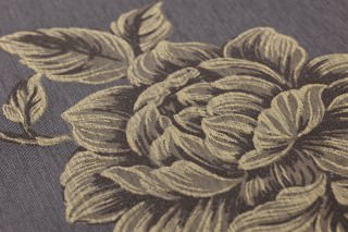 Wallpaper Evangeline Shimmering Flower tendrils Black grey Beige Grey