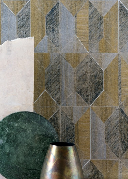 Wallpaper Moura Matt Geometrical elements Grey tones Matt gold Matt silver