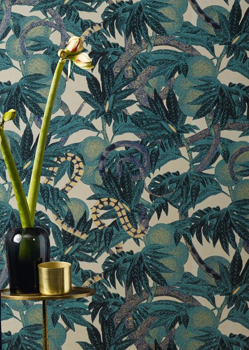 Funky Wallpaper Wallpaper Jungle Snakes water blue Room View