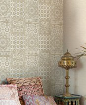 Wallpaper Azulejos Matt Oriental Tiling Motif Beige Cream Grey beige Sepia brown